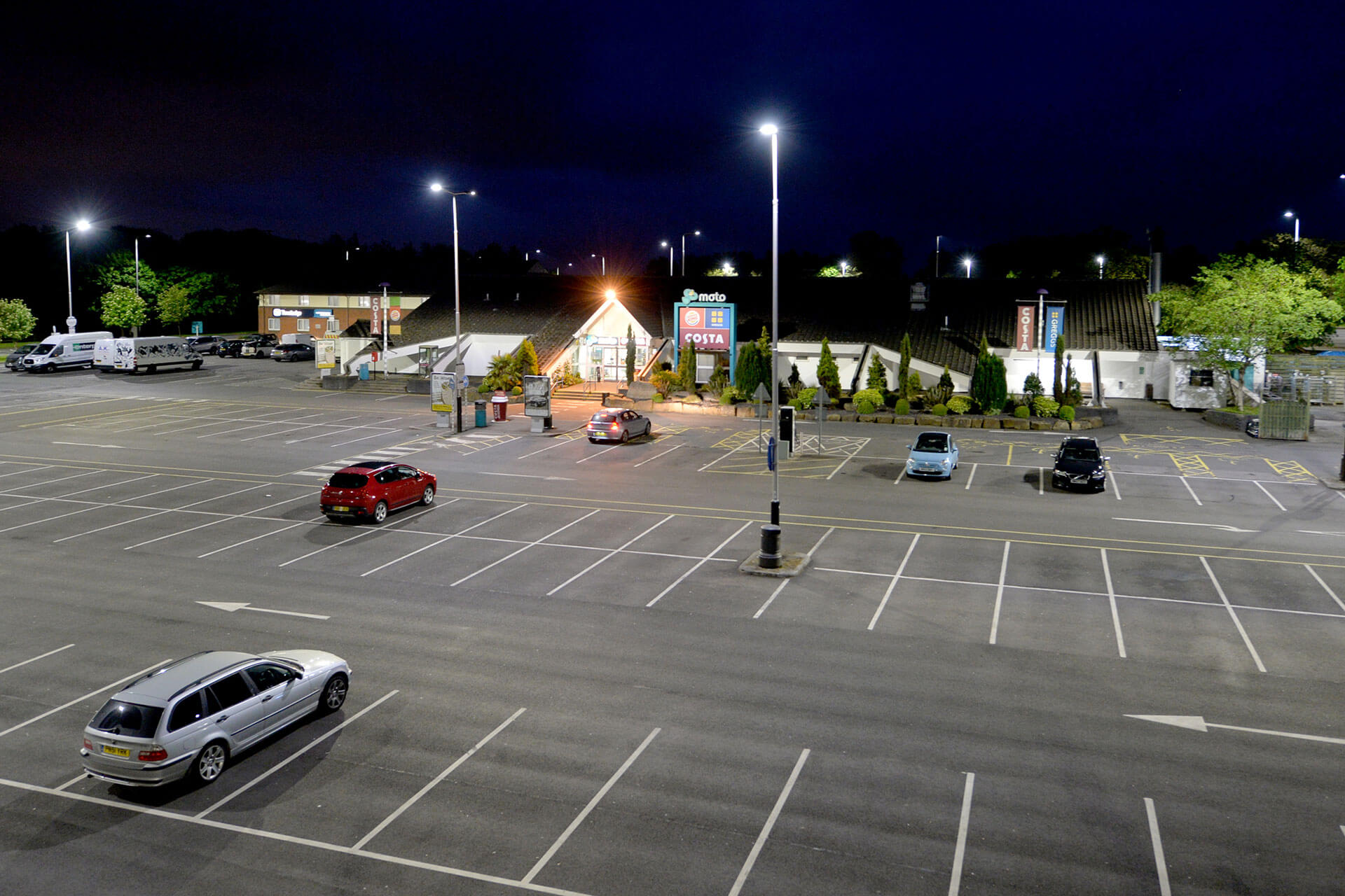 Ampera LED luminaires were installed with low inclination to project the light further, reducing the quantity