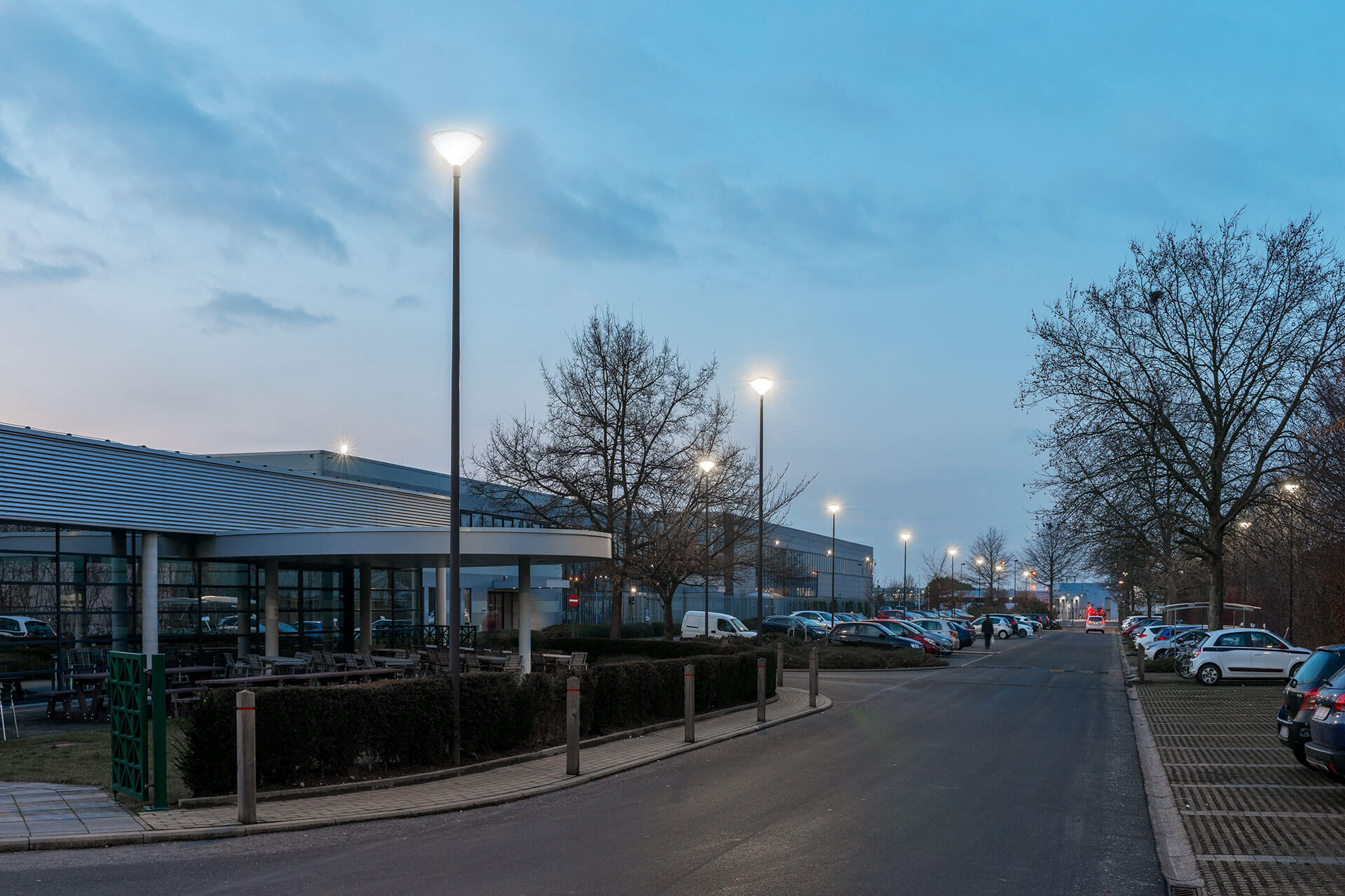 The aesthetic Friza luminaire enhances the landscape both by day and by night