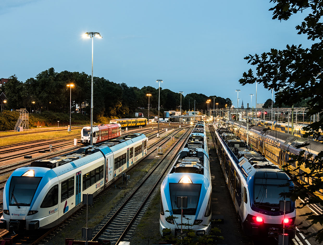 Large areas like this rail depot need highly efficient yet cost-effective Schréder lighting solutions to ensure safety for employees and operational benefits for the railway company