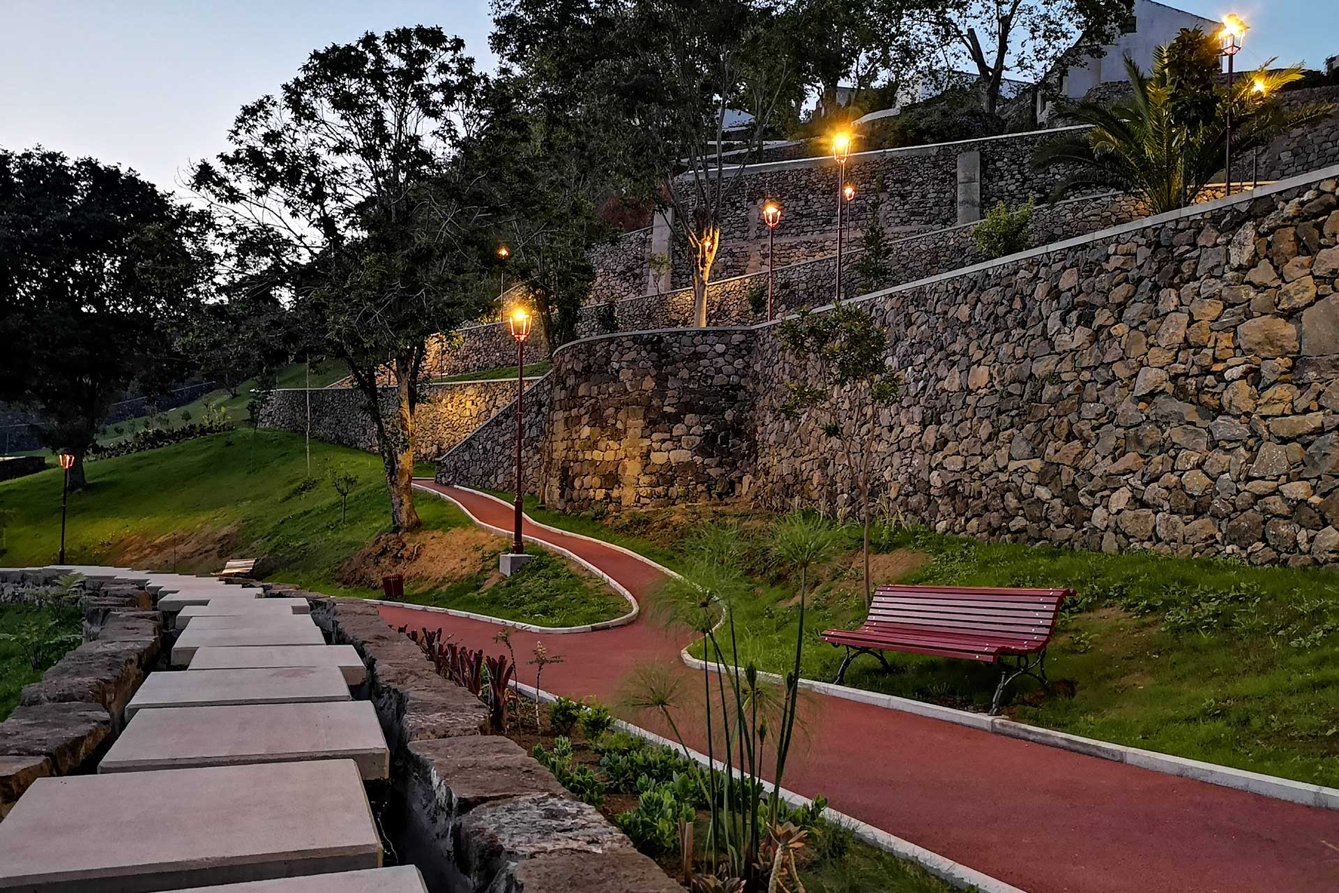 Urban lighting enhances both the natural beauty and cultural significance of Duque da Terceira Garden